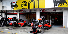 Marussia F1 Team Garage - Thursday Preparations