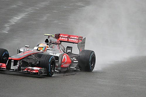 Lewis Hamilton in his McLaren F1 car at Silverstone