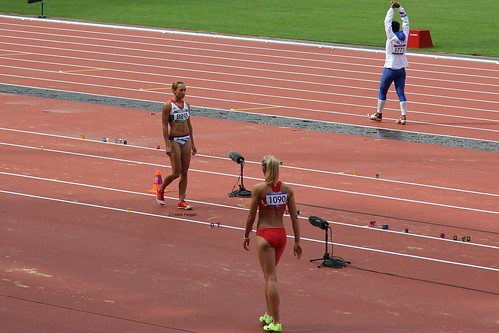 Team GB Gold Medal winner Jessica Ennis prepares for the long jump during the heptathlon in the London 2012 Olympics