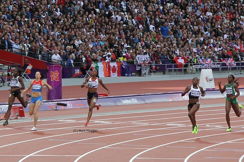 Margaret Adeoye of Team GB qualifies for the 200m semi finals at the London 2012 Olympics