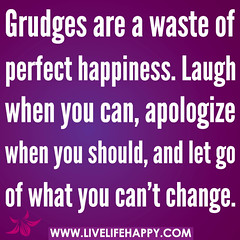 Grudges are a waste of perfect happiness. Laug...