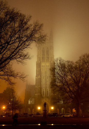 Duke Chapel in fog
