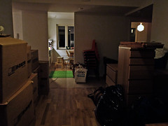 Moving: new place, filled upp with boxes and stuff
