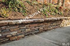 WM Mark Jurus 9, retaining wall, flat cap  stones, dry laid stone construction, copyright 2014