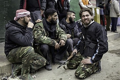 Syrian rebel reacts after learning the death o...