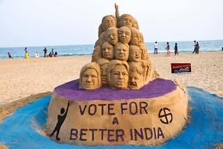 Vote judiciously for a better India, Sand Artist Sri Manas Kumar Sahoo Aware The People