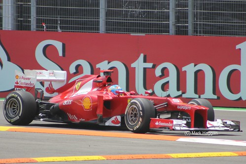 Fernando Alonso in his Ferrari F1 car at the 2012 European Grand Prix in Valencia