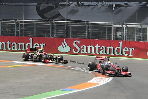 Lewis Hamilton in his McLaren F1 car being followed by Romain Grosjean in his Lotus F1 car during the 2012 European Grand Prix in Valencia