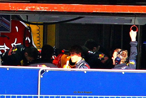 Sebastian Vettel eats a banana at Formula One Winter Testing in March, 2012