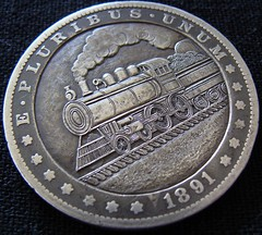 """'Empire State Express' Hobo nickel/coin carving • <a style=""""font-size:0.8em;"""" href=""""http://www.flickr.com/photos/72528309@N05/26561869410/"""" target=""""_blank"""">View on Flickr</a>"""