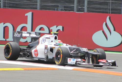 Sergio Perez in his Sauber F1 car at the 2012 European Grand Prix in Valencia