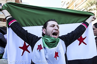 Anti-Syrian regime protester holds a Syrian re...