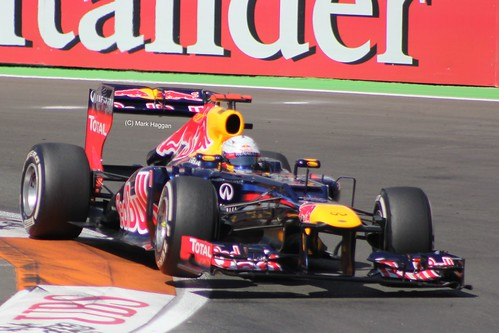 Sebastian Vettel in his Red Bull Racing F1 car at the 2012 European Grand Prix in Valencia