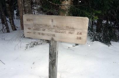 Ammonoosuc Ravine Trail Sign