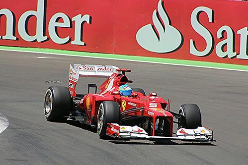 Fernando Alonso in his Ferrari F1 car during the 2012 European Grand Prix in Valencia