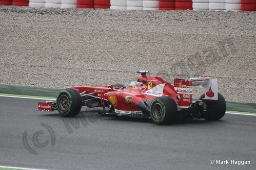 Fernando Alonso in his Ferrari in Free Practice 1 at the 2013 Spanish Grand Prix