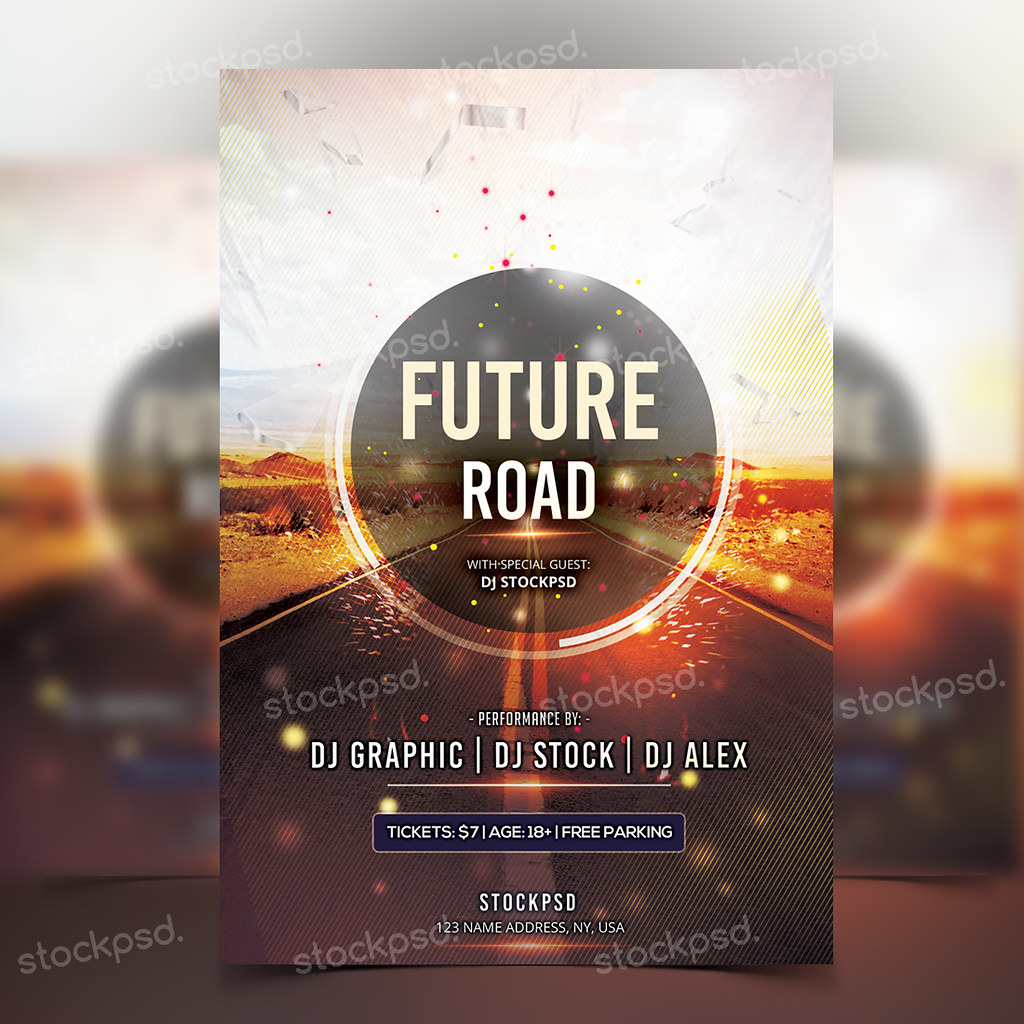 Future Road - Free Psd Flyer Template (Stockpsd) Tags: Flyer Psd Psdflyer  Futureflyer