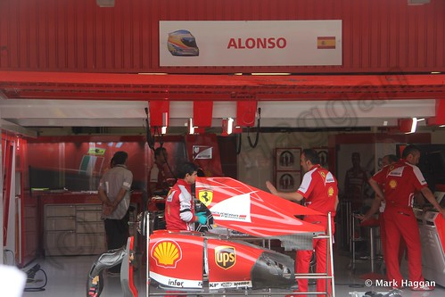Fernando Alonso's Ferrari pit garage at the 2013 Spanish Grand Prix