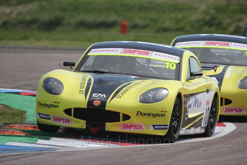 Tom Wood in the Ginetta Juniors Race during the BTCC Weekend at Thruxton, May 2016