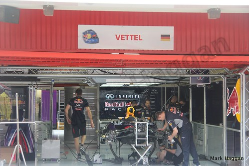 Sebastian Vettel's Red Bull pit garage at the 2013 Spanish Grand Prix