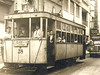 """Tranvía de la línea 4 con el motorman y el guarda en la plataforma a mediados del siglo pasado. • <a style=""""font-size:0.8em;"""" href=""""http://www.flickr.com/photos/100839868@N05/9609167055/"""" target=""""_blank"""">View on Flickr</a>"""