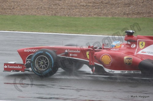 Fernando Alonso in Free Practice 1 for the 2013 British Grand Prix