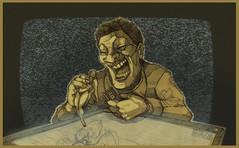 Bulimia catodica, disegno a biro e postproduzione digitale, 2015