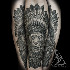 Brandons-lion-with-indian-headdress-in-black-and-grey-inner-forearm-tattoo-by-ben-lucas-at-eye-of-jade-in-chico-ca-usa