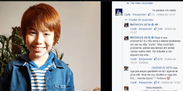 """Ator mirim é chamado de """"viado"""" na web e dá resposta exemplar a internauta"""