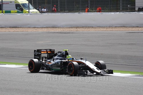 Sergio Perez in his Force India in Free Practice 2 at the 2016 British Grand Prix
