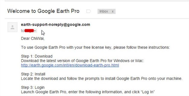 Google Earth Pro License Email