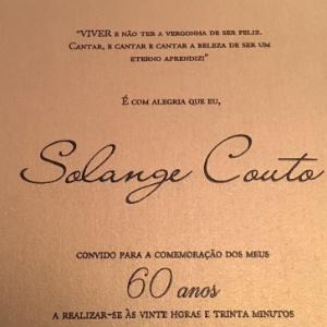 Solange Couto festeja 60 anos com Lucco de príncipe e show de Sandra de Sá