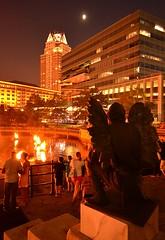 Gargoyle overlooking flames (Photo by John A. Simonetti)