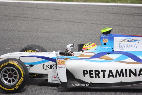 Rio Haryanto GP2 action at the 2013 Spanish Grand Prix