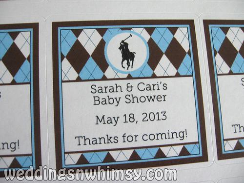 blue brown sticker label custom argyle polo babyshower personalized babyblue