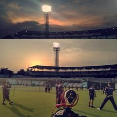 Shooting the #kolkata #knights at Eden Gardens.  #kolkataknightriders #ipl2016 #tripusindia #initium #bengal #cricket #t20 #stadium #greens #sports #sunset #india