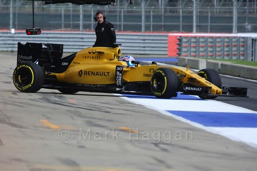Jolyon Palmer driving for Renault in Formula One In Season Testing at Silverstone, July 2016