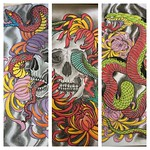 Just a reminder that this set if prints is available from the big cartel or the studio itself. Thanks for looking. I hope you enjoy them #japanese #skull #chrysanthemum #snake #irezumi
