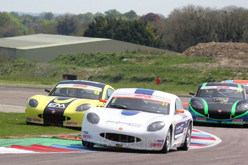 Lewis Brown and Harry King in the Ginetta Juniors Race during the BTCC Weekend at Thruxton, May 2016