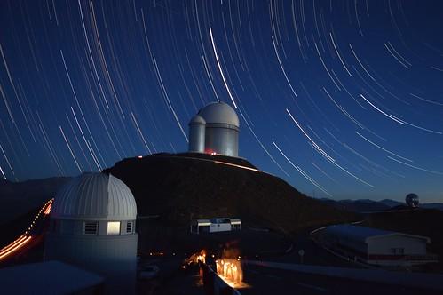 Star Trails over the 3.6m at La Silla, Chile