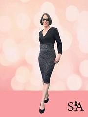 High waisted black dress