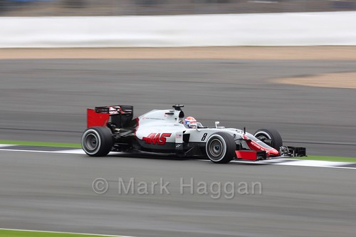 Romain Grosjean in the Haas in Free Practice 1 at the 2016 British Grand Prix
