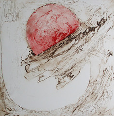 GIANFRANCO ZAZZERONI, L'INCONTRO DEI DUE MONDI,L'UNIVERSO CHE E' IN NOI, Puntasecca stampata alla poupèe, 2009