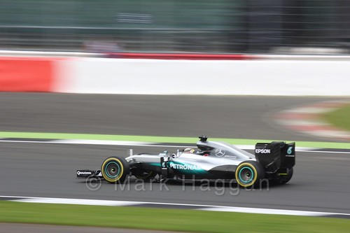 Lewis Hamilton in his Mercedes during Free Practice 3 at the 2016 British Grand Prix
