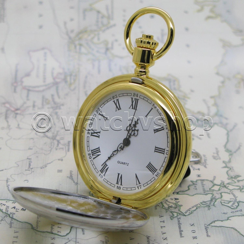 Silver Gold Antique Solid Brass Mens Quartz Pocket Watch T Fob Chain Box P53