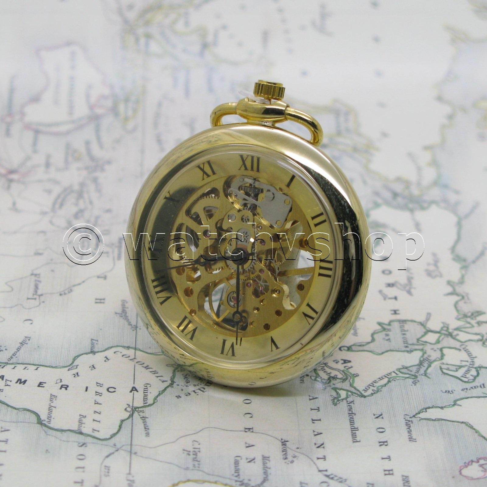 Gold Antique Style Quartz Classic Men Pocket Watch With Fob Chain T Box P47