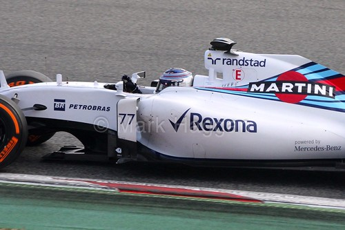Valtteri Bottas in his Williams at Formula One Winter Testing 2015