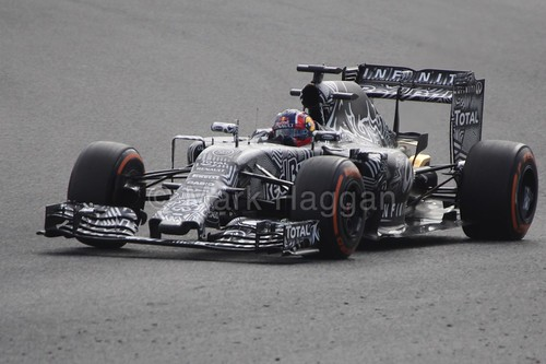 Daniil Kvyat in his Red Bull in Formula One Winter Testing 2015