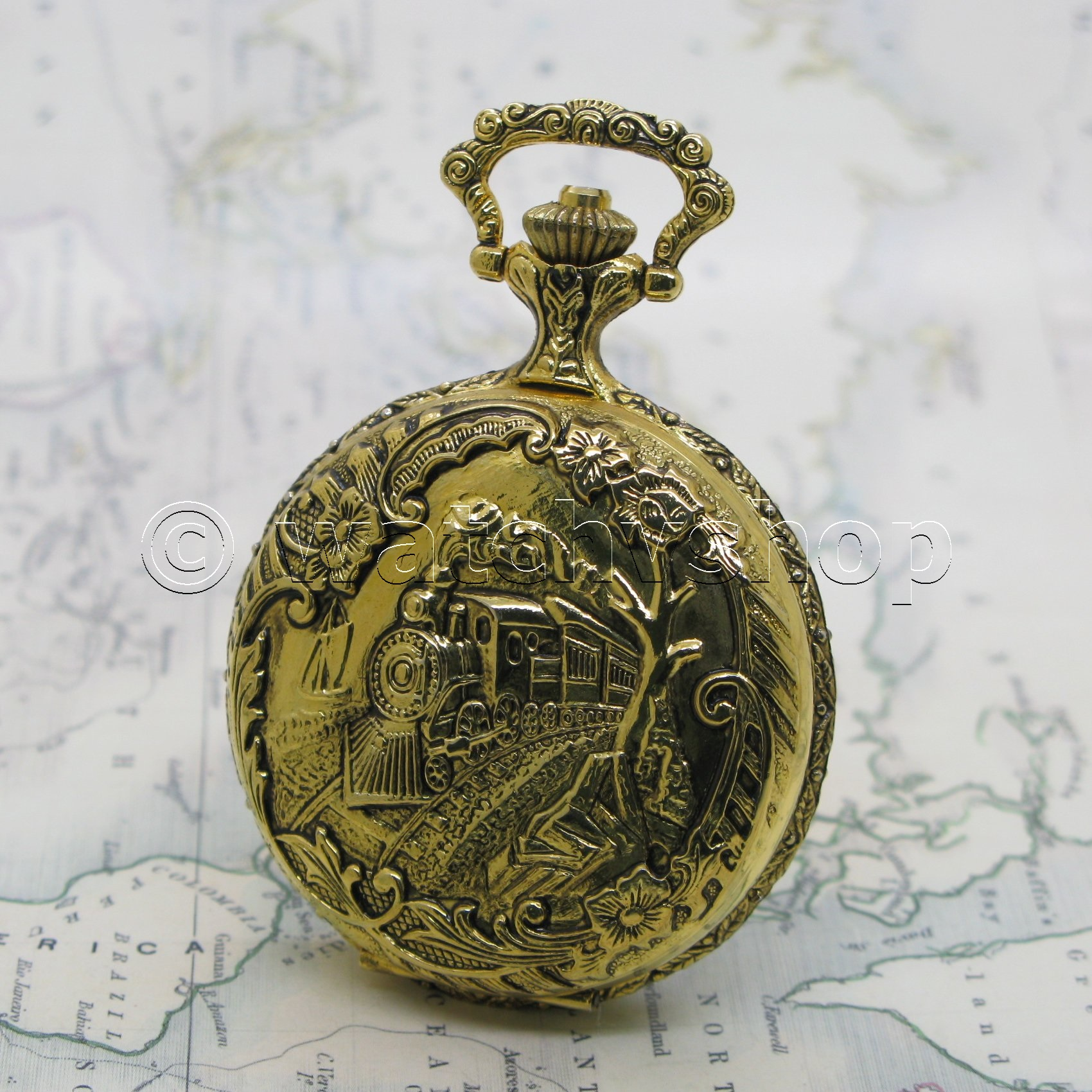 Gold Antique Mens Quartz Pocket Watch Train Design With Fob Chain T Box P163