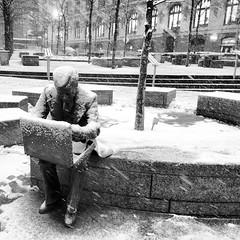 Cold man... #snow #nyc #newyork #11s #city #cold #white #b&w